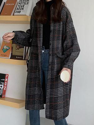 Ladies Fashion Vintage Plaid Long Coat
