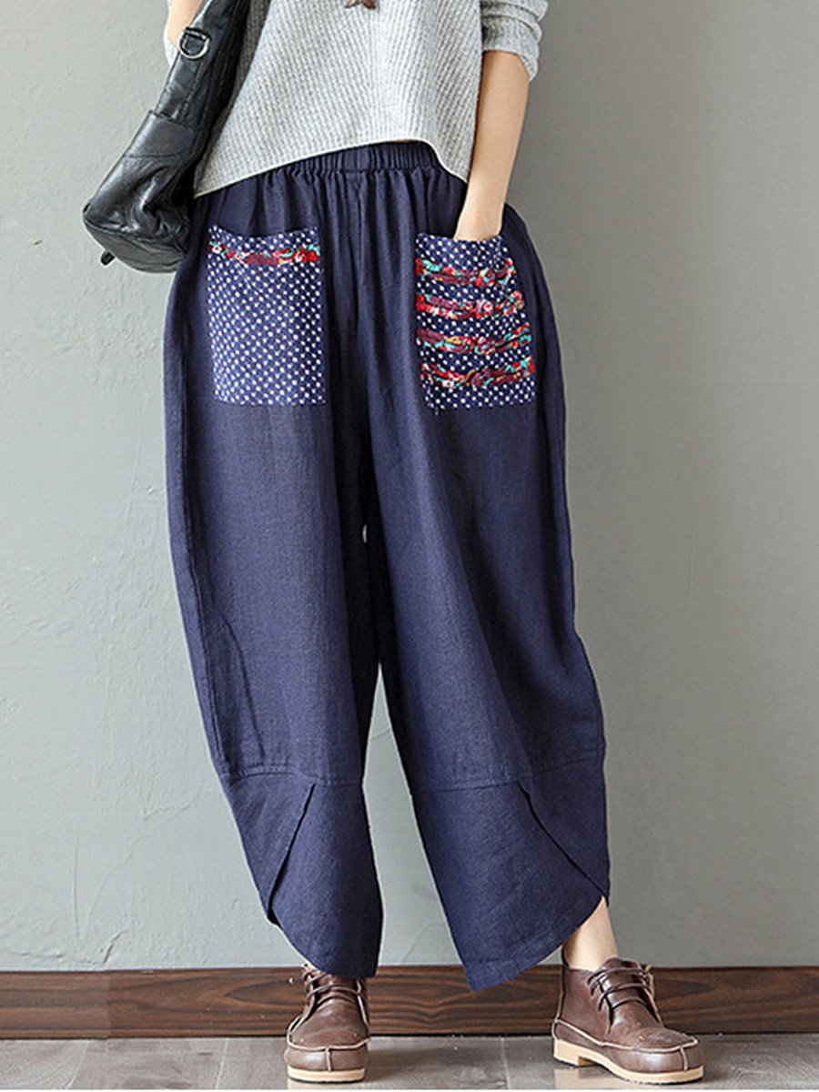 Ethnic style stitching cotton and linen wide-leg pants loose ladies pants