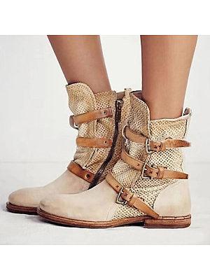 berrylook Women's Leather Boots Side Zip High Boots