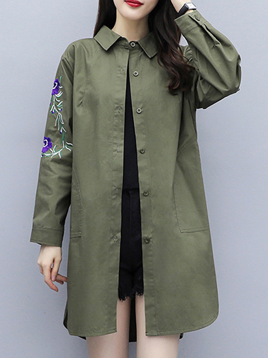 Women's fashion solid color embroidery trench coat - from $32.95