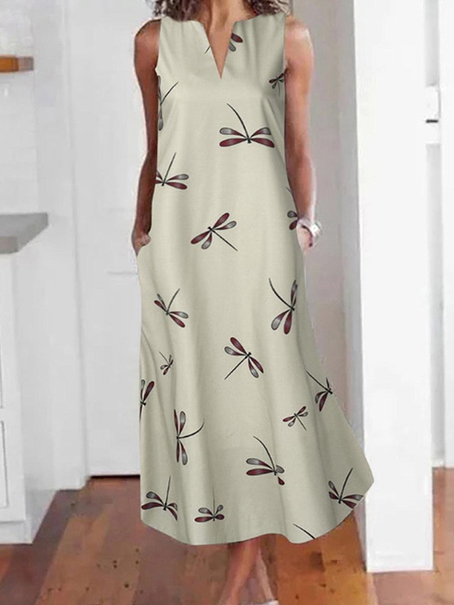 V- Neck Floral Printed Maxi Dress