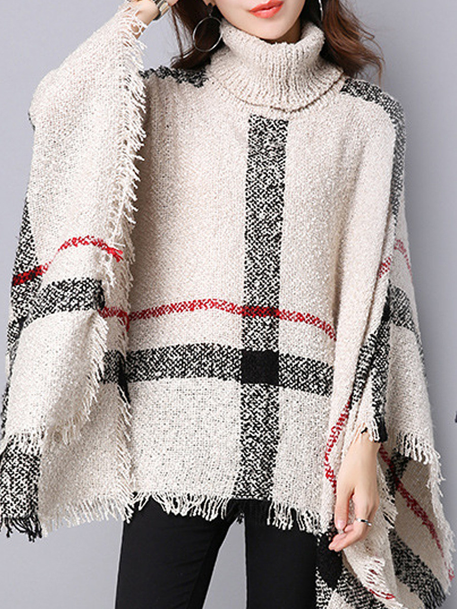 Heap Collar  Plaid Long Sleeve Knit Pullover - from $20.95