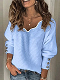 Image of Sweet V-neck Pure Color Puff Sleeve Knit Sweater