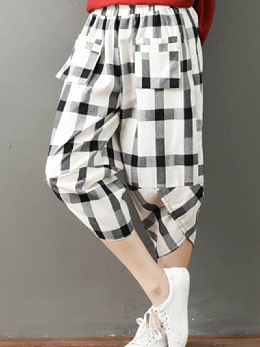 BerryLook Oversized cotton and linen loose check high waist casual pants cropped pants
