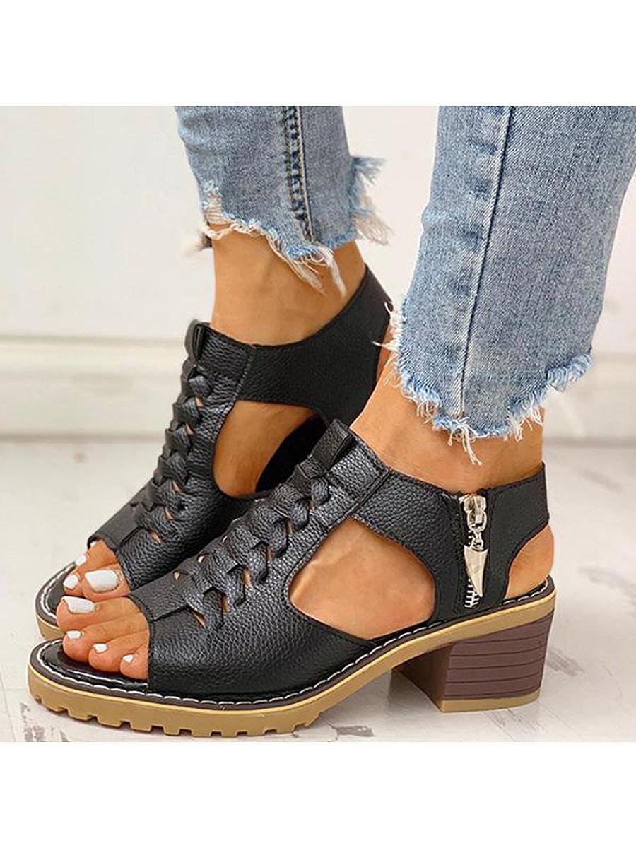 BerryLook Women's fish mouth vintage heel sandals