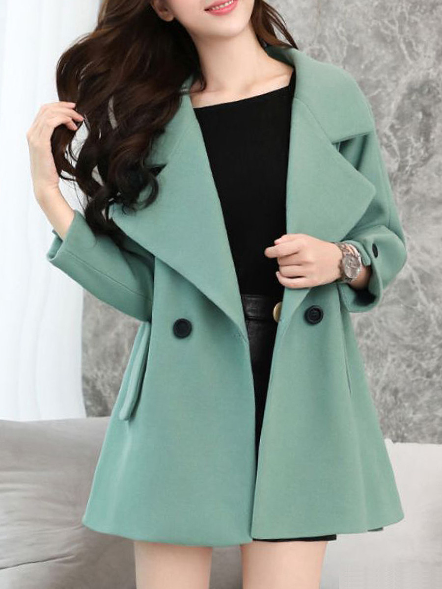 Ladies Fashion Folded Collar Solid Color Coat - from $33.95