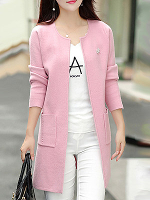 Elegant Plain Long Sleeve Knit Cardigan фото