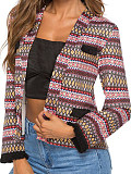 Image of Autumn and winter ethnic style cuff stitching jacket