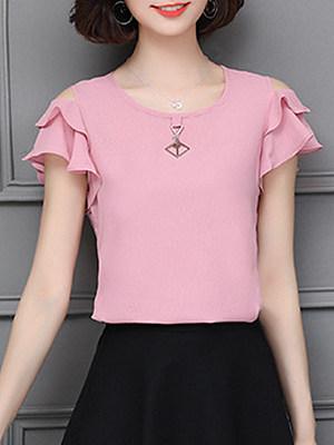 Round Neck Elegant Plain Short Sleeve Blouse, 11371206