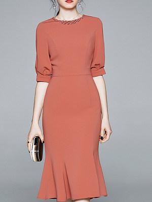 Round Neck Patchwork Lace Bodycon Dress, 11299129