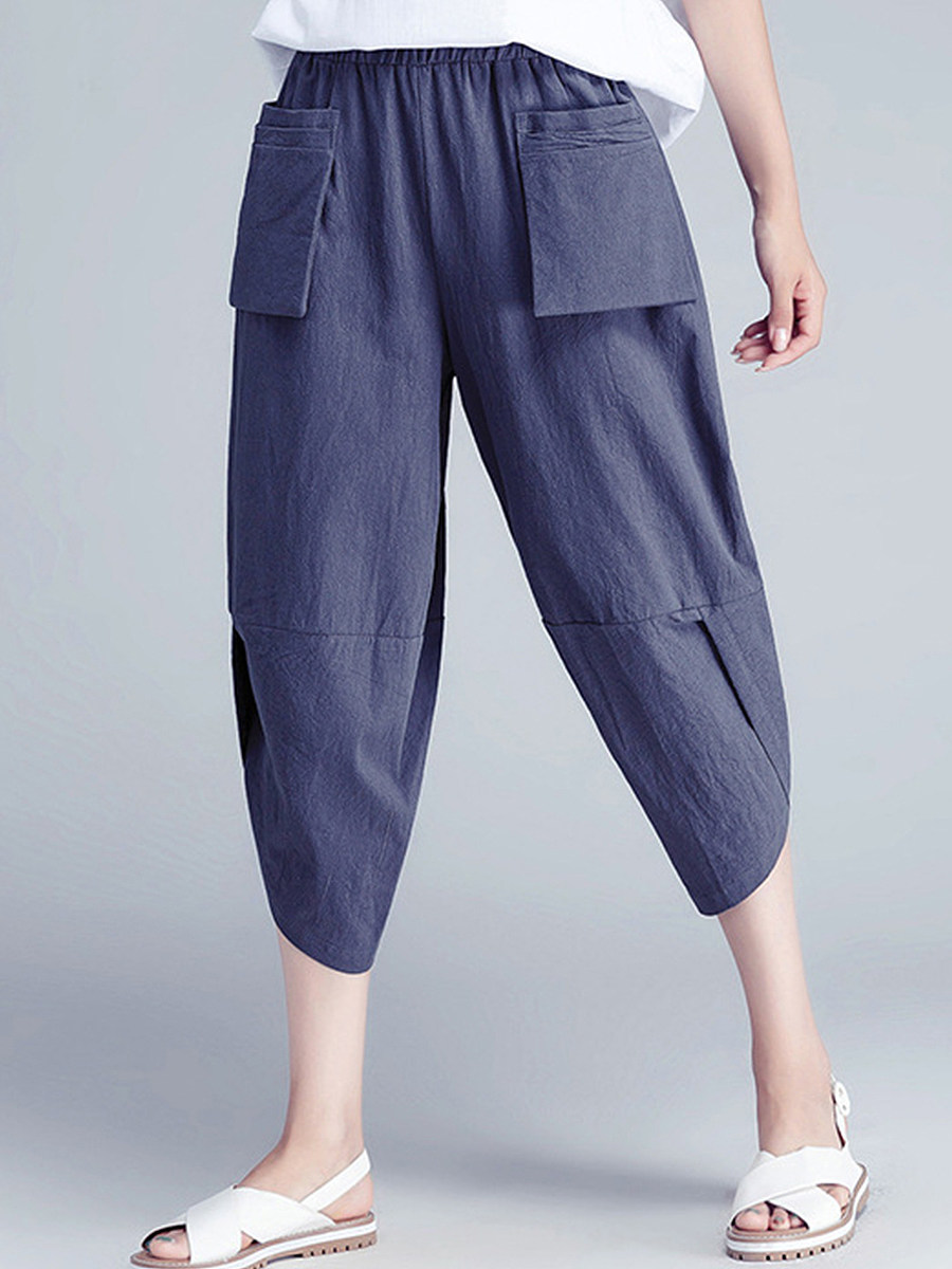BerryLook Stylish and comfortable cotton and linen loose large size cropped pants