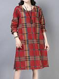Image of Round Neck Long Sleeve Plaid Print Dress
