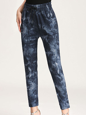 Buy Casual Pants clothes shopping near me, online shopping sites from Berrylook Apparel & Accessories>Clothing>Pants, Berrylook Autumn and winter high waist tie-dye printed casual pants is well made of and it\\\'s features are: waistline:76,hips:92 (in inches). Find best Casual Pants at Berrylook.com
