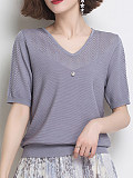 V Neck Plain Patchwork Short Sleeve Knit Pullover