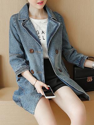 Women Fold Collar Denim Jacket gender:woman, season:autumn,spring, sleeve_length:long sleeve, style:japanese and korean style, dress_occasion:daily, bust:109,clothing length:80,shoulder width:41,