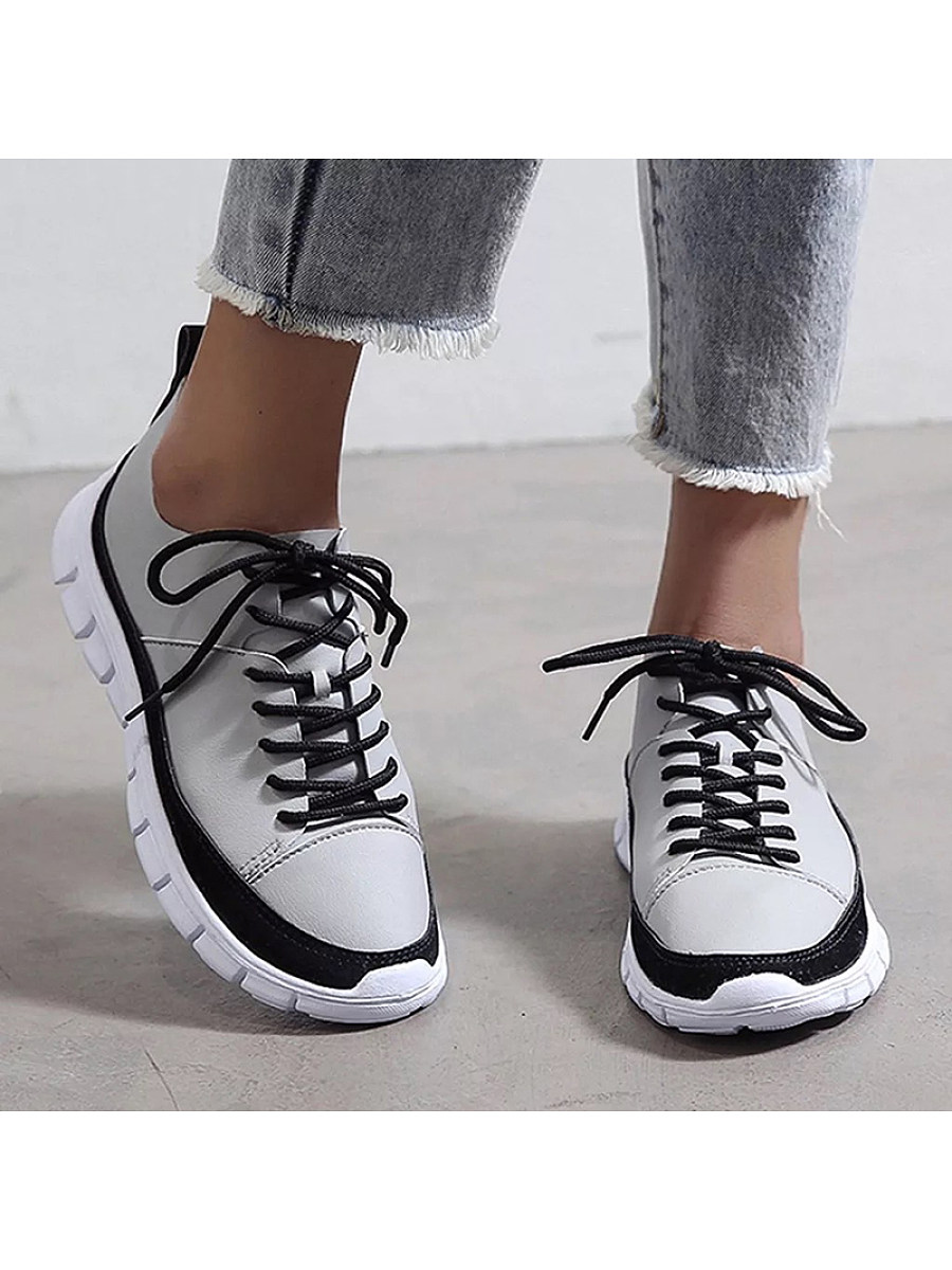 Women's Casual Colorblock Lace Up Sneakers