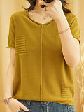 Short Sleeve V-neck Loose Casual Knitted Pullover