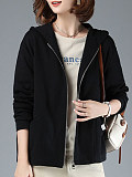 Image of Casual Sports Cotton Loose Plus Size Hooded Jacket