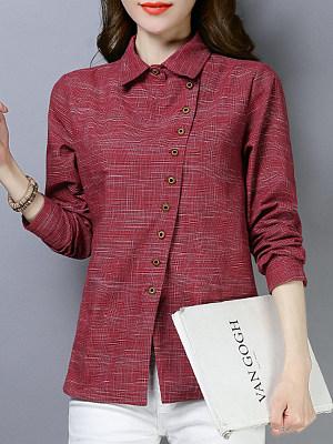 Turn Down Collar Buttons Plain Long Sleeve Linen Blouse, 11004504