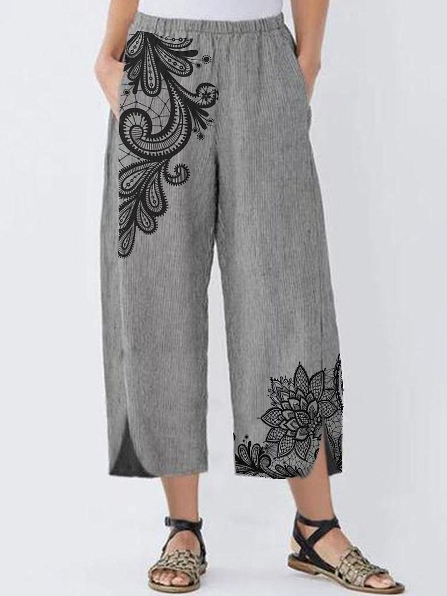BerryLook Fashion imitation lace printed asymmetric split casual pants