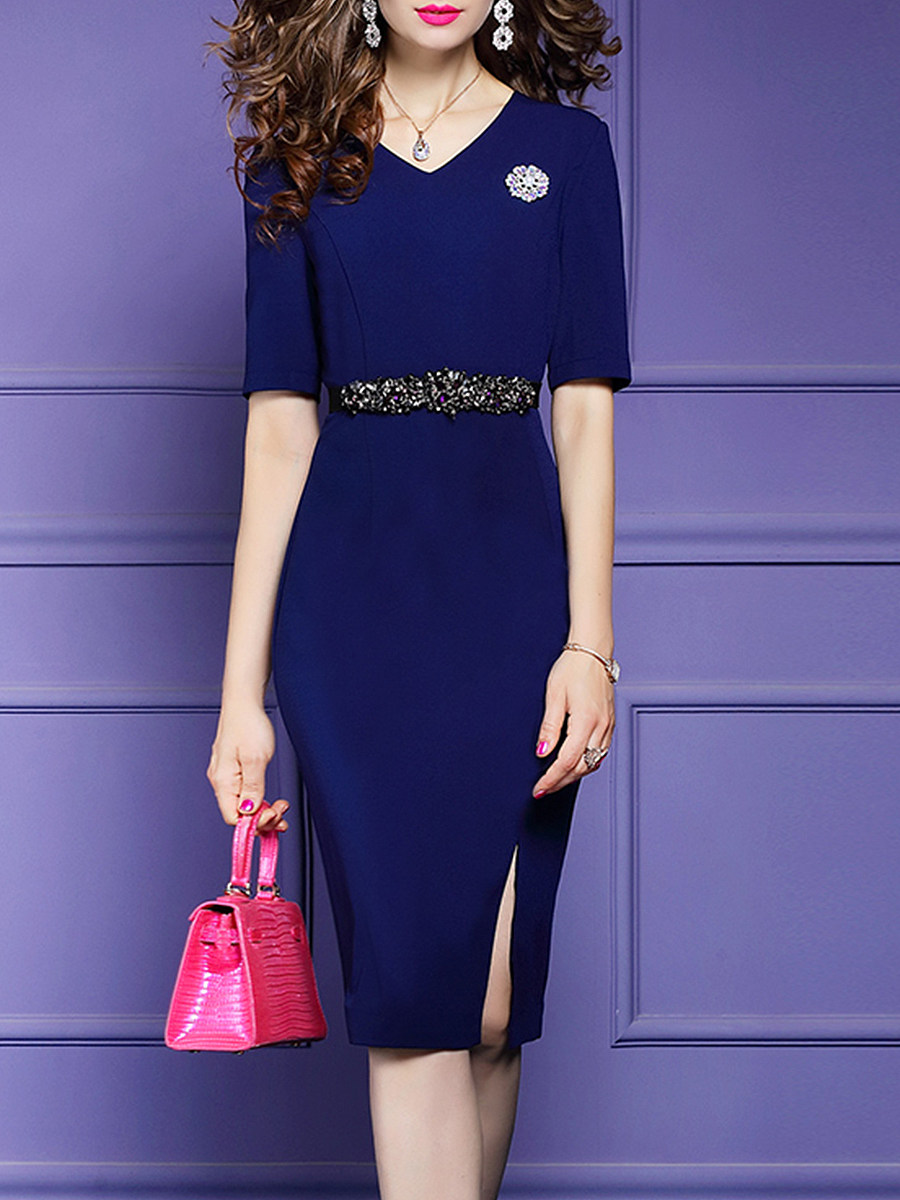 BerryLook V-Neck Plain Bodycon Dress