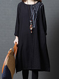 Image of A-line Long Sleeve Round Neck Loose Dress