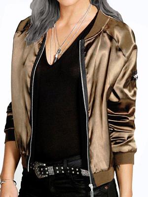 Women's Fashion Solid Color Zip Coat