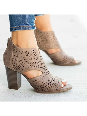 Fashion Women Thick Heel Hollow Out High Heels, 10725130
