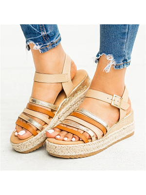 Colorblock wedge platform sandals, 11142495