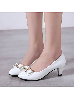 Round toe shallow mouth bow shoes фото
