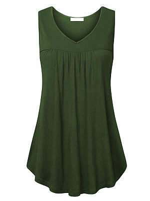 V Neck Plain Sleeveless T-shirt, 11418293