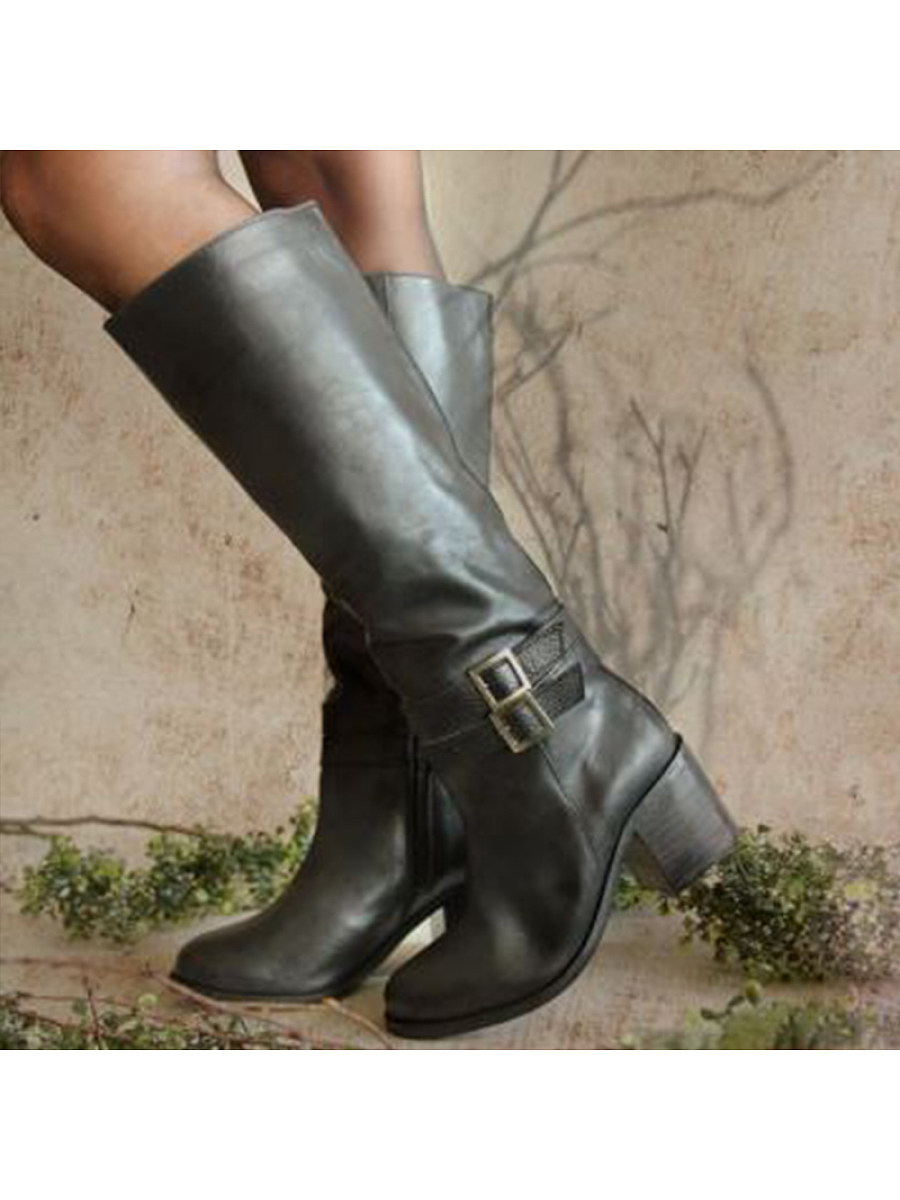 High-heeled boots with belt buckle - from $35.95