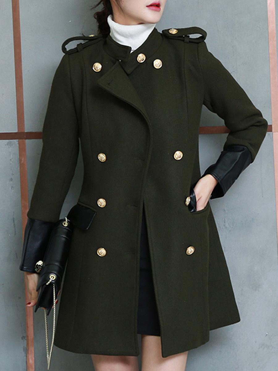 Women's fashion stitched woolen coat