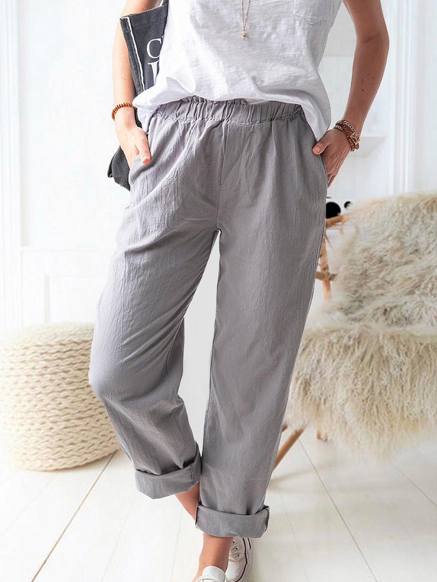 BerryLook Solid color casual straight trousers