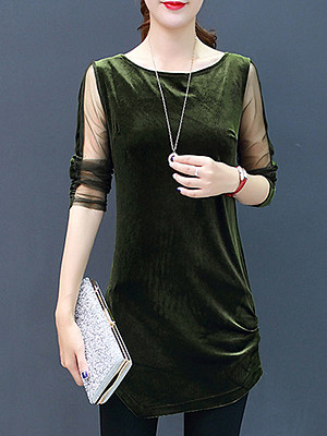 Round Neck Patchwork Plain Long Sleeve T-Shirt, 10409114