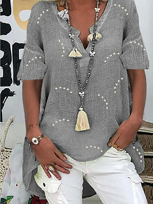 Loose Cotton And Linen Printed Short-Sleeved Shirt
