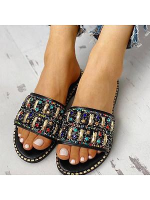 Fashion rhinestone sequin flat slip-on slippers, 11401446
