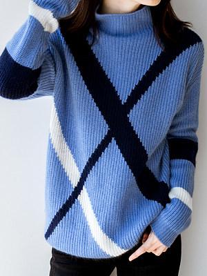 Short High Collar Stripe Long Sleeve Knit Pullover, 10521556