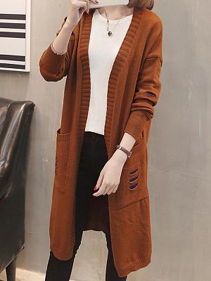 Plain Long Sleeve Knit Cardigan sweater, 10262109