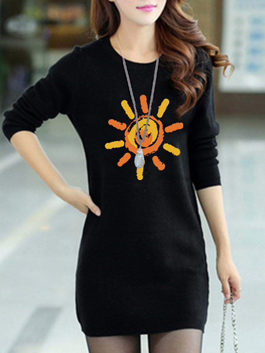 Lady's Round Neck Printed Shift Dress - from $10.95