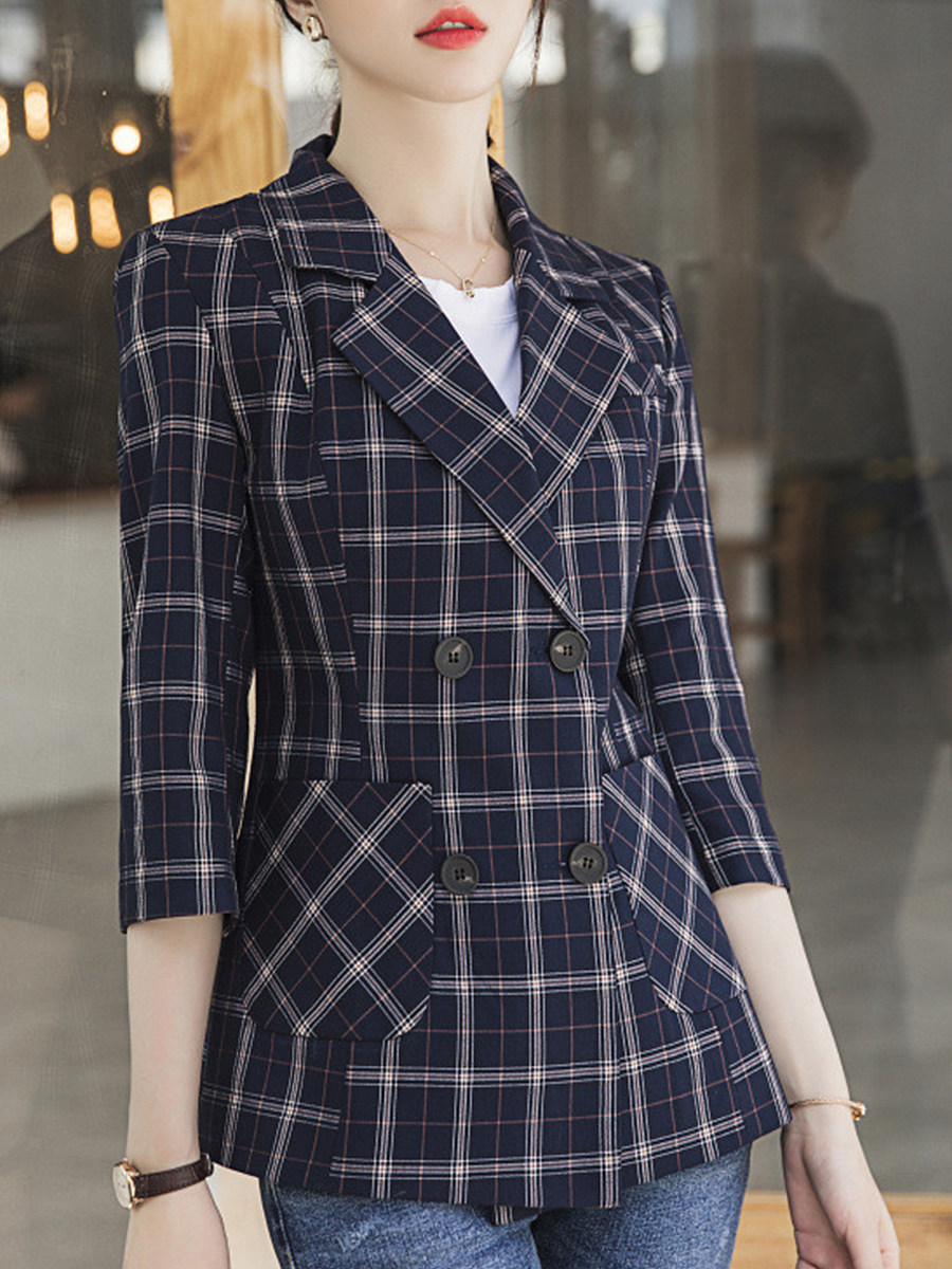 Temperament Slim Plaid Blazer