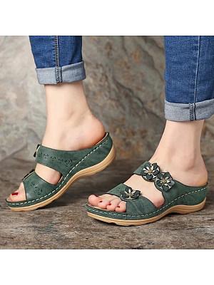 Flower open toe wedge slippers, 23361932