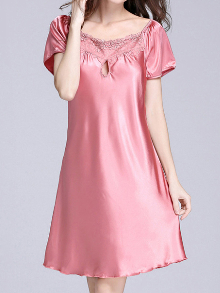 Fashion - silk pajama ladies summer silk sexy short-sleeved nightgown