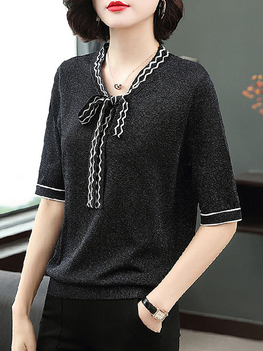 BerryLook V Neck Bow Short Sleeve Knit Pullover