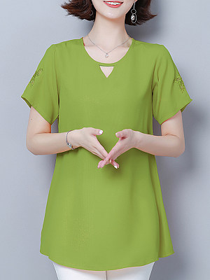 Womens Casual Pure Color V Collar Short Sleeve Chiffon Shirt gender:woman, season:summer, collar:v-neck, texture:chiffon, sleeve_length:short sleeve, style:japanese and korean style, dress_occasion:daily, bust:120,clothing length:80,shoulder width:43,sleeve length:22.5,