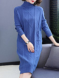 Image of Solid Color High Neck Knitted Long Sleeve Dress