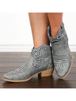 BERRYLOOK Women Fashion Embroidered Leather Boots