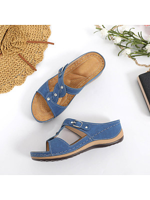 Women's Casual Solid Color Rhinestone Decorative Sandals, 10787355