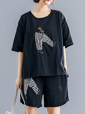 Round Neck Printed Loose Fitting Short Sleeve T-shirt And Bottom фото