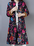 Image of Autumn and winter cotton and linen printed retro cotton coat